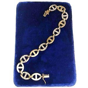 XL VINTAGE Sterling Silver wStones Bracelet Anklet